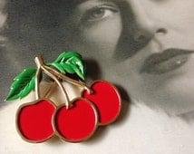 RARE VintageTrifari Signed Enameled Cherry Brooch ~ Rockabilly Style Jewelry At Hope Knows Vintage ~ Fine Vintage Designer Signed Jewelry