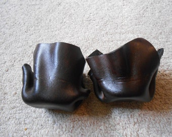 Dark Cocoa Leather Candle Holders