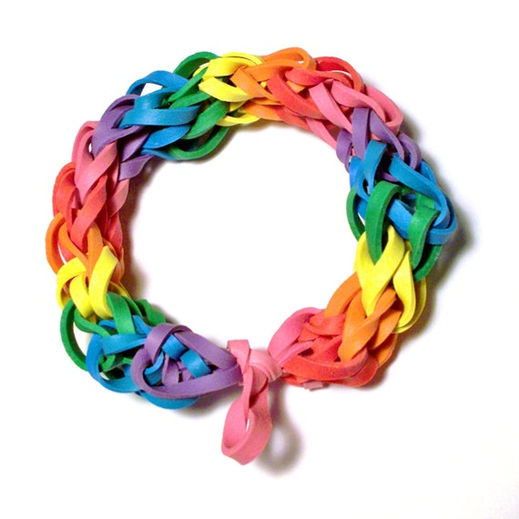 Rainbow Rubber Band Bracelet - Multicolor Fashion Stretch Bracelets - Support Cause for Lesbian, LGBT, Gay Pride