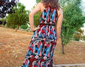 Maxi dress, Tribal print, Halter Dress, colorful dress, MiXeDesigns lab - MixeDesigns