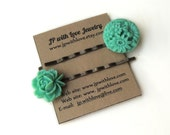 Teal hair pins, Flower hairpins, Set of 2, Gift  under 10
