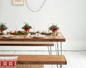 Dining Set - Reclaimed Oak Table and Matching Bench