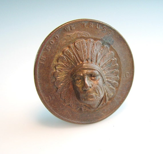 Indian Copper Penny Pin Punch Out Three D Amazing Unisex Coin