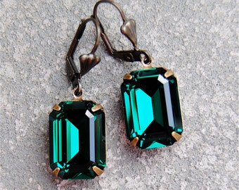 Emerald Green Earrings Swarovski Crystal Green Earrings Rectangle Dangle Drop Earrings Duchess Mashugana