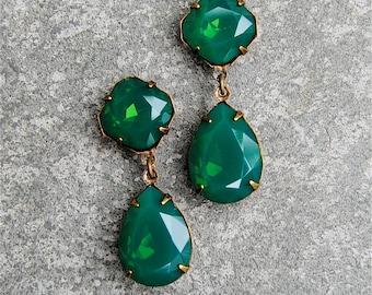 Jade Green Opal Rhinestone Earrings Swarovski Crystal Emerald Green Tear Drop Pear Post Dangle Earrings Gwenevere Mashugana