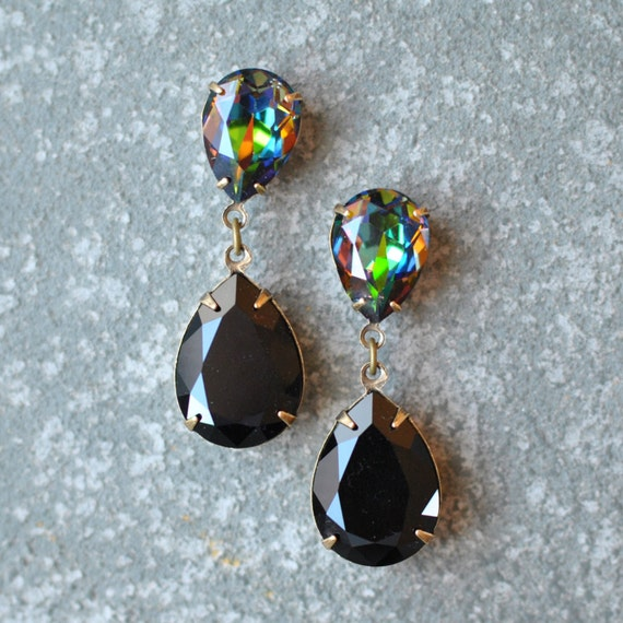 Rainbow Black Earrings Rhinestone Earrings Swarovski Dark Rainbow Duchess Hourglass Dangle Post Earrings Mashugana