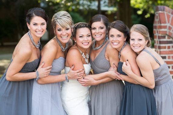 Special 30 dollars. 4 strand gray (grey) pearl chunky necklace-wedding jewelry-bridesmaid jewelry