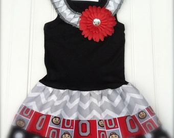 Girls Custom Boutique Dress Red Grey Black Dress Girls Clothing Chevron Dress Football Basketball Kids Available 3 months through Size 6/8