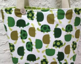 Happy Turtles Canvas Reversible Tote Bag