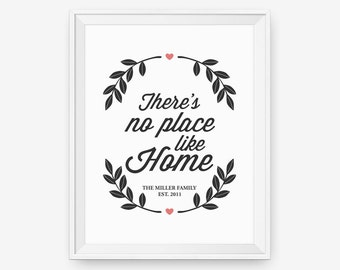 Personalized House Warming Gift, There's No Place Like Home, Wedding Sign, Inspirations, Anniversary Gift