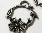 Flower Hoop Charm Alloy 21mm Silver vintage style with vines 10 pieces