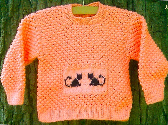 Halloween sweater Black Kitty Cat Child's Toddler's Boy's Girl's hand knit orange jumper with black cats Thanksgiving Fall Autumn jumper.
