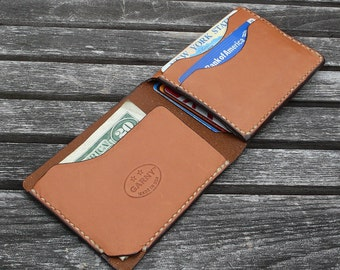 Mens Wallet, minimalist leather wallet, men's wallet, simple wallet,  handmade wallet, leather wallet, whiskey color  leather, garny No.4