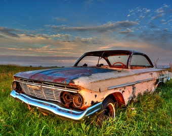 Fine art print of a Chevy muscle car rusting away in a farmers field