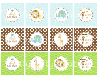 BOY MOD JUNGLE cupcake toppers - Birthday or Baby Shower - You Print