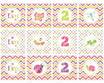LOVELY BUGS cupcake toppers- YOU Print
