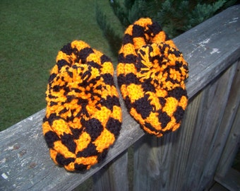 Slippers...Knitted...Orange Black...Checkerboard...Warm...One Size Fits Most...Hand Made...Comfy