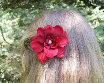 Red Flower Hair Pin - Wedding Hair Flowers - Bridal - Bridesmaids - Flower Girl - Made to Order