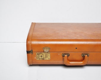Vintage Tawny Brown Suitcase