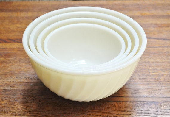White Fire King Mixing Bowls