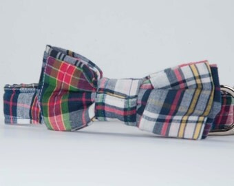 Preppy Madras Bow Tie Dog Collar, Dog Bowtie Collar, Nautical Dog Collar, Plaid Dog Bow Tie Collar, Dog Wedding Collar, Custom Dog Collar