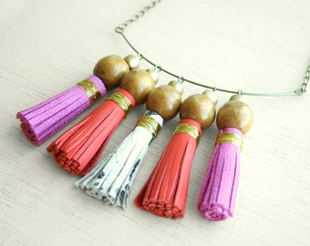 Colorful tassel statement necklace