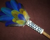 Smudge Fan-  Bursting into Life- Sacred Prayer Fan with a Kyanite Crystal and a Drift Wood Handle