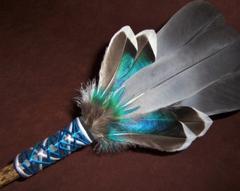 Smudge Fan- Dancing Among the Stars - Sacred Prayer Fan with a Selenite Crystal - Made to Order