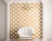 Scallop Shell Pattern Wall Stencil for Allover Wall Decor (STL0010)