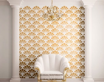 Scallop Shell Pattern Wall Stencil for Allover Wall Decor (STL0010)