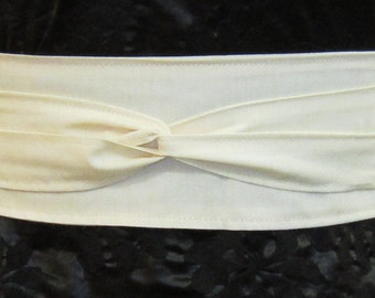 Organic And Natural Cream Colored Cotton Wrap Belt