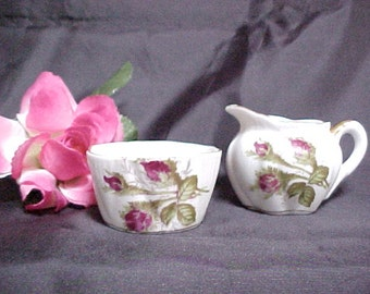 Vintage Small Cream and Open Sugar Set, Rose Pattern W/ Gold Trim on White Porcelain, Collectible Serving China, Individual Creamer & Sugar