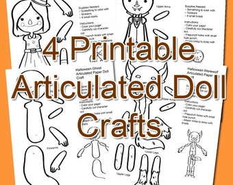 4 Halloween Articulated Doll Craft - Printable PDF Instant Download