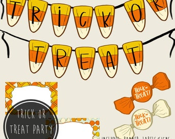 Halloween Trick or Treat Party Kit, Printable PDFs, Instant Download