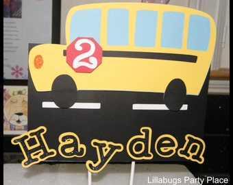 School Bus Cake Topper, Personalized, Yellow Bus, Wheels on The Bus, School Party