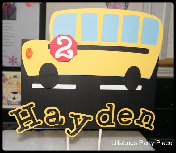 School Bus Cake Topper Personalized Yellow Bus Wheels on