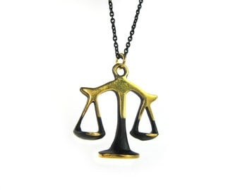 "Libra Pendant - Large - Walter Bosse ""Black Gold"" Bronze Zodiac Scales Necklace - 26"" Chain"