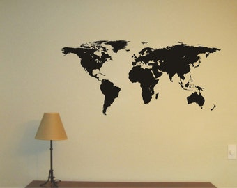 WORLD MAP Vinyl Decal, Wall Sticker, Wall Tattoo