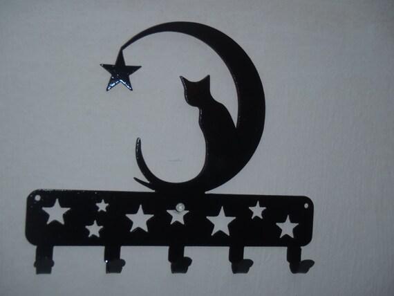 Chat sur la lune porte cl d coration murale art en m tal for Accroche cles mural design