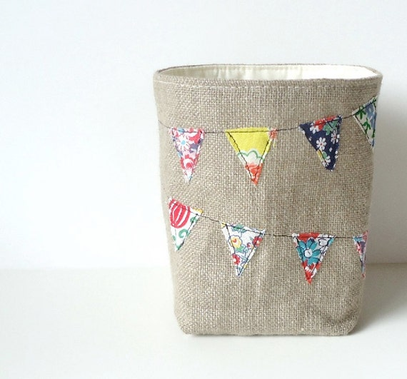Burlap Basket Bunting Vintage Feedsack Fabric - Rustic Feed Sack Banner Storage Bin - Burlap Bucket - Burlap Home Decor - JuneberryStitches