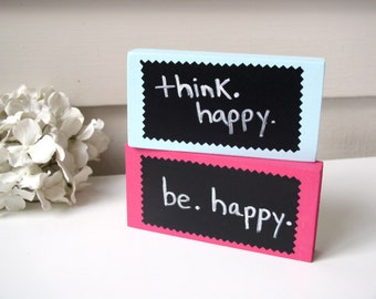 Inspirational Quote Mini Chalkboard Message Block - Solid Wood Cubicle Decor YOU PICK COLOR Dry Erase Sign or Table Number 2.5 x 5 inches