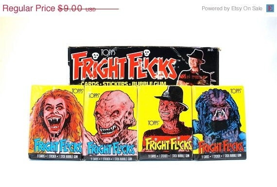 ON SALE Fright Flicks Horror Trading Cards/Stickers made by Topps 1988 lot of 4 packs