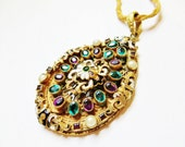 Austro Hungarian Czech Glass Art Deco Necklace Gold Enamel Jewels Vintage 1920s Art Deco Jewelry - IfindUseekVintage