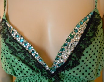 COSPLAY 100% Silk HalterTop.SWISS Polka dots .Swarovski CRYSTAL Bust .Emerald/Diamond Glass Crystal Encrusted.One Of A Kind.WarriorPrincess