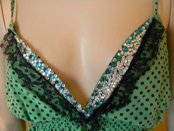 COSPLAY 100% Silk HalterTop.SWISS Polka dots .Swarovski CRYSTAL Bust .Emerald/Diamond Glass Crystal Encrusted.One Of A Kind.WarriorPrincess