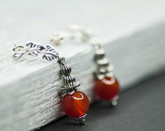 Autumn Earrings, Dangle Earrings, Caramel Orange Fall Jewelry, Stud Earrings, Agate Earrings, September Trends, Autumn Leaves Jewelry