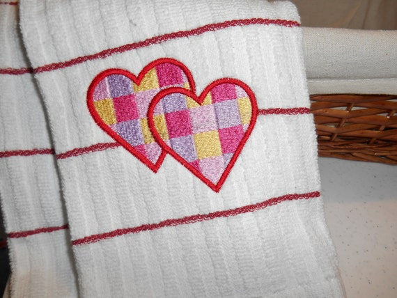 Valentine Hearts Towel,  Embroidered  Hearts, Kitchen Towel White and Red, Striped Kitchen Towel, Valentine Home Decoration