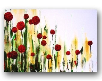 Red Abstract Flowers Painting Floral Painting Garden Painting Large Original Painting on Canvas Contemporary Art 36x24 by Heather Day