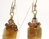 Earrings of Russian Lace Agate and Topaz Swarovski Crystal with 14K Gold Filled Earwires