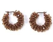 Brown Crystal Hoop Earrings, Light Smoked Topaz Swarovski Crystal Copper Hoop Earrings